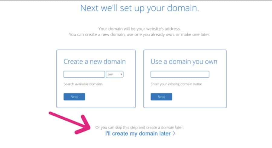 Skip your domain name and continue to build your blog.