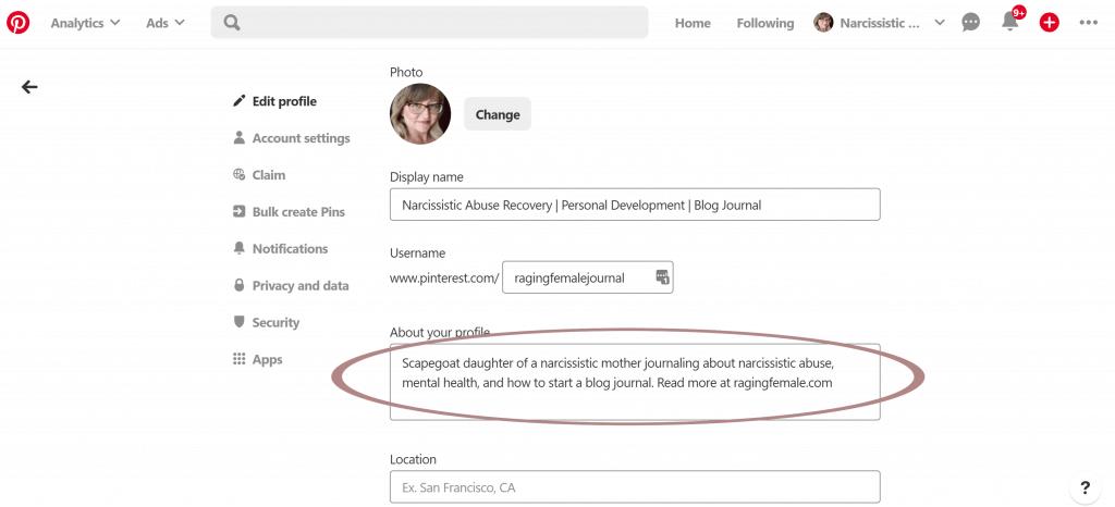 Pinterest account profile set up.