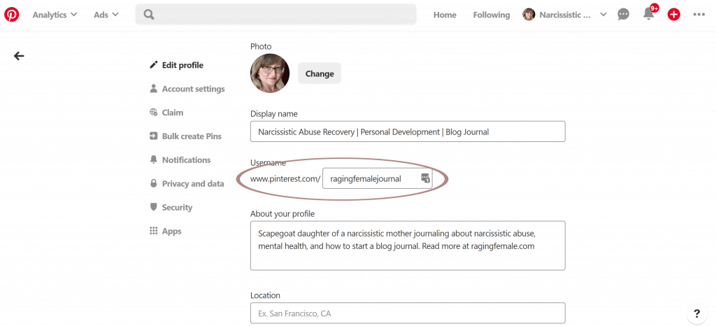 Pinterest traffic account set up.